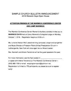 sample church bulletin the regional synod of new york